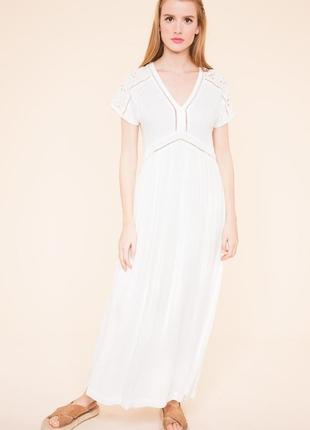 Белое длинное платье suncoo paris
