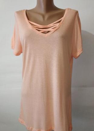 Персиковая натуральная стильная футболка atmoshere uk 14/42/\.l 100% вискоза