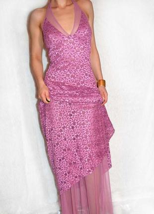 Шикарное мерцающее гипюровое платье в пол цвета нежной сирени