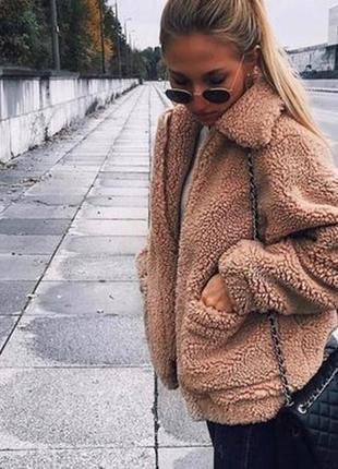 Эко шуба,короткая меховая куртка от h&m/бежевая/эко мех/teddy bear-m-l