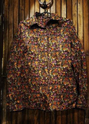 Яркая рубашка коттон с цветочным принтом бохо этно van laack