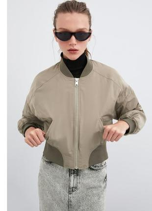 Бомбер куртка zara оригинал беж нюд курточка укорочённая