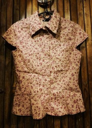Рубашка в принт цветы из тонкого коттона, бохо этно, приталенная orsay