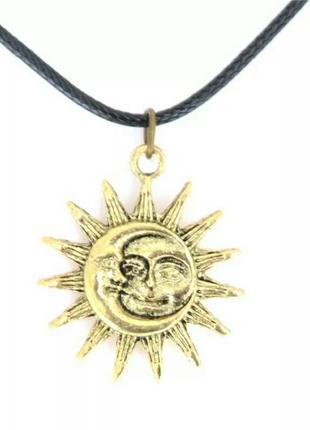 """Черный чокер с подвеской из античного золота """"солнце и луна"""""""