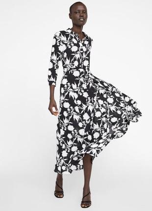 Платье миди макси длинно в пол zara оригинал в цветах на поясе