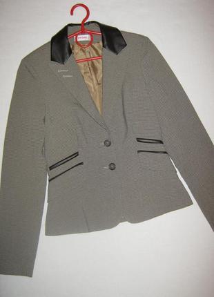 Модный пиджак в клетку гусиная лапка с кожаными вставками, orsay