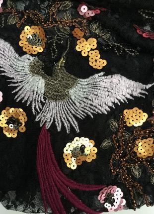 Базовая,кружевная блуза,гипюровая,секси кофта с вышивкой жар-птица по груди,