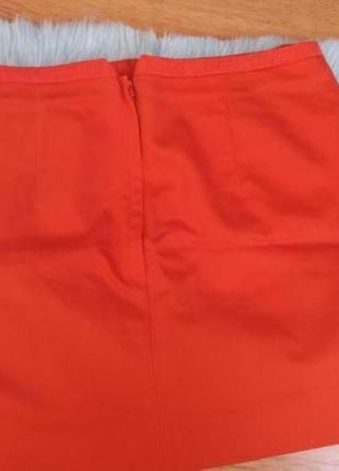 Яркая новая оранжевая юбка мини h&m, юбка трапеция с кармашками. р. м