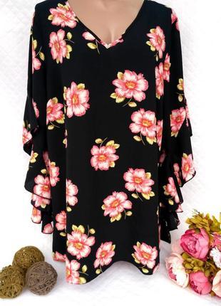 Шикарная блуза в цветы - рукав воланы размер 20 (52-56)