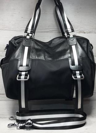 Женская большая сумка спортивная дорожная сумка для зала спорта кожа кожаная плащевка