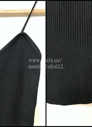 Базовая черная майка топ в рубчик на тонких бретельках 🔥8 фото