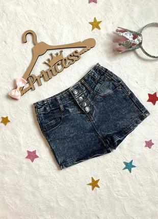 Стильные джинсовые шорты miss e-vie, 7 лет, 122 см, короткие шорты высокая посадка