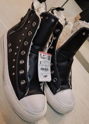 Утепленные кеды,ботинки с заклепками zara girls
