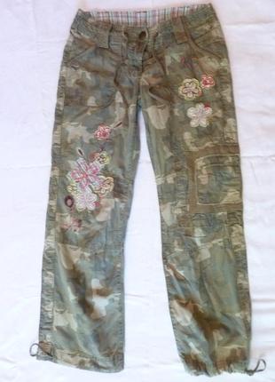 Крутые модные штаны вышивка милитари хаки карго джоггеры next