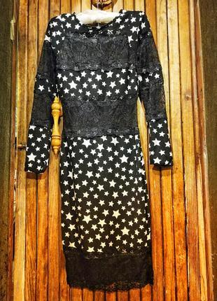 Необычное платье на вечеринку в звезды с кружевом