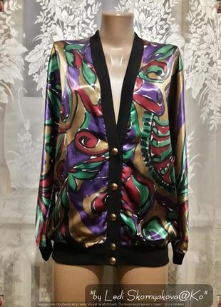 Новая красочная атласная кофта/блуза/бомбер, размер с-л