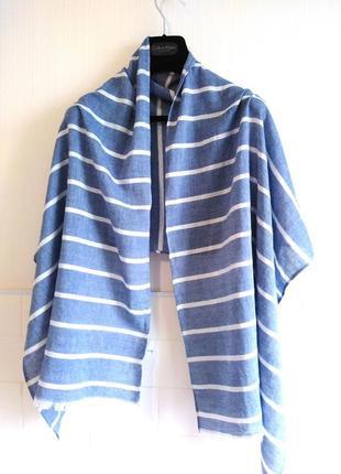 Котоновый широкий шарф с люрексовой полоской