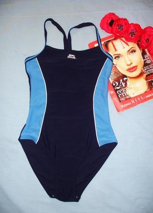 Купальник сдельный темно-синий спортивный в бассейн размер 42 / 8 слитный сплошной
