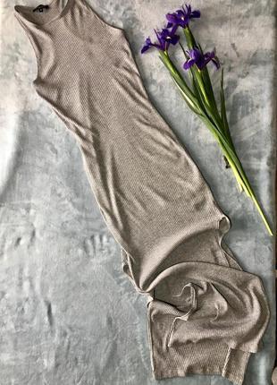 Платье в рубчкик длина макси с разрезами бо боках от new look