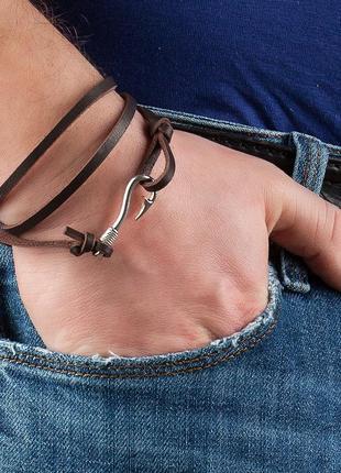 Кожаный мужской браслет из 100% натуральной кожи