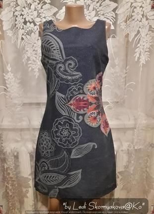 Новое расписаное цветами платье с джинса с серебристой нитью, размер м-л