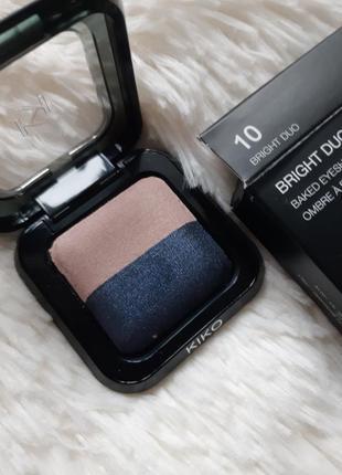 Тени kiko milano bright duo baked eyeshadow! оттенок 10