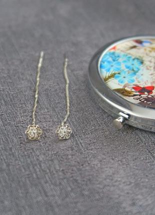Серьги на цепочках, протяжки, пусеты серебро 925 пробы родирование