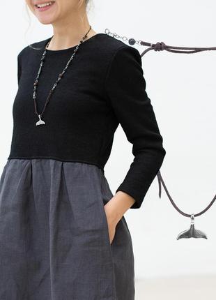 Оберег, ожерелье унисекс с натуральными камнями кит , натуральная кожа