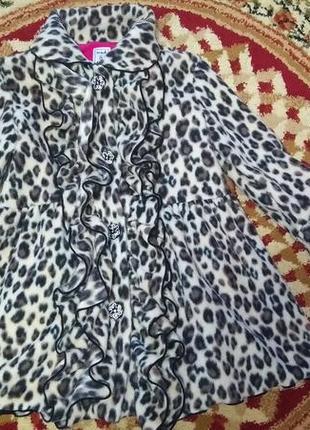 Флисовое леопардовое пальто на 3-5 лет