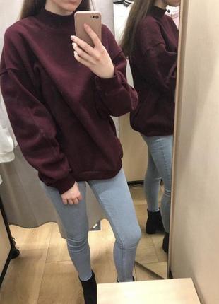Бордовая толстовка свитер свитшот худи футболка с длинным рукавом bershka