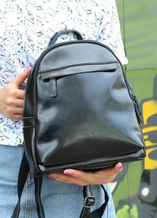 Черный кожаный рюкзак для города, топ продаж
