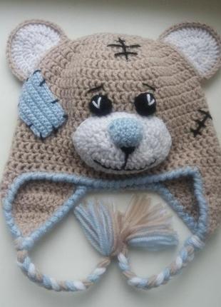 """Продам детскую вязаную шапку """"мишка тедди"""". ручная работа."""
