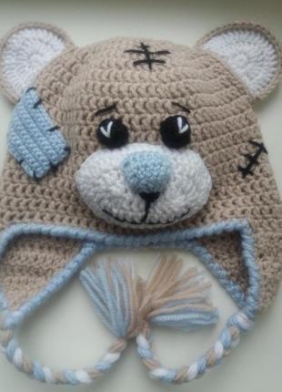 """Продам детскую вязаную шапку """"мишка тедди"""". ручная работа.3"""