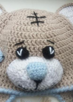"""Продам детскую вязаную шапку """"мишка тедди"""". ручная работа.4"""