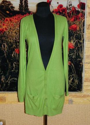 Кофта женская длинная на пуговицах зелёная салатовая south р. 44-46.