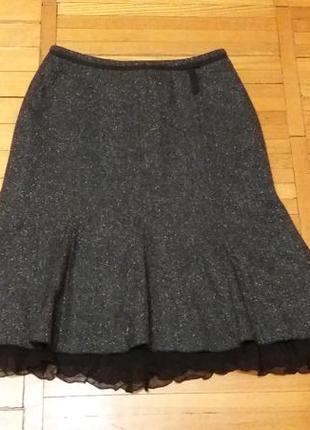 Нарядная теплая юбка-годе шерсть/шелк publick размер 44-46
