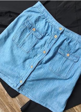 Стильная джинсовая юбка трапеция от promod