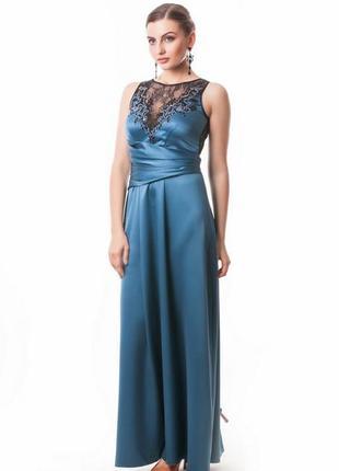 Шикарное вечернее длинное атласное платье