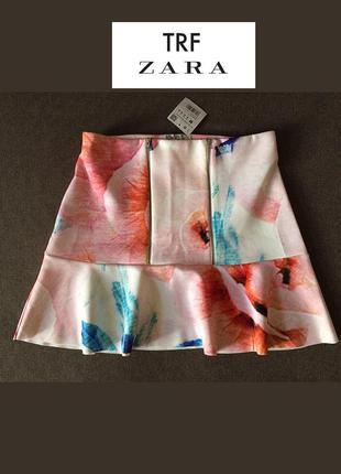 Крутая эластичная юбка zara с цветами - яркое лето на вашей одежде