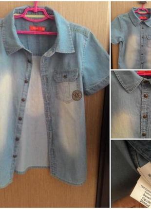 Стильная летняя джинсовая рубашка на 10-11 лет