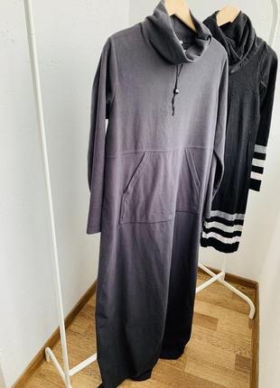 Платья длинное тёплое флисовое серое