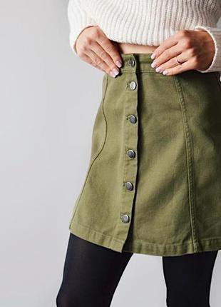 Юбка трапеция/ джинсовая юбка на пуговицах/ юбка хаки
