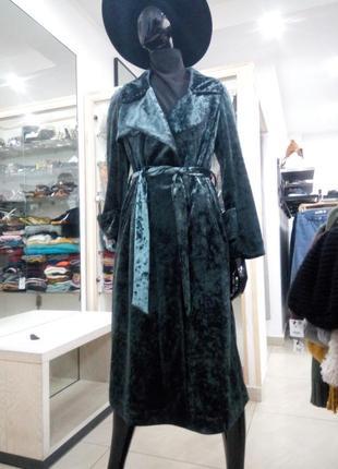 Велюровое пальто плащ тренч, велюрове пальто, халат