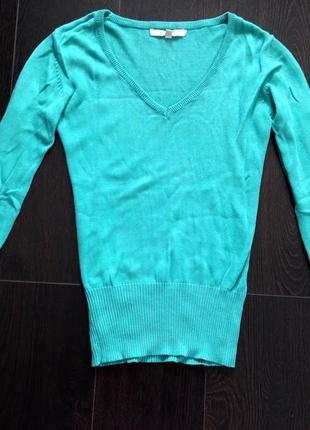 Нежная мятная бирюзовая кофточка машинная вязка реглан пуловер
