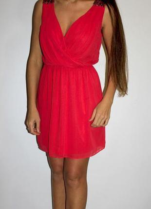 Шифоновое платье zara , плечи с бисером — уценка товара —