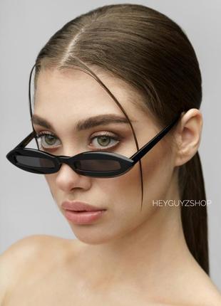 Узкие солнцезащитные очки в пластиковой оправе sci fi скай фай черные купить киев