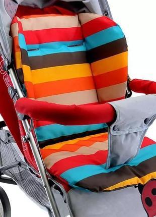 Двусторонний моющийся матрасик вкладыш в коляску, стульчик для кормления