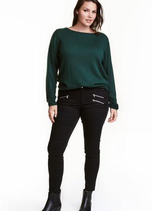 H&m+ байкерские джинсы 46(l-xl) 406673