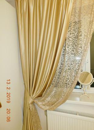 Шторы для спальни или гостиной с кружевом1