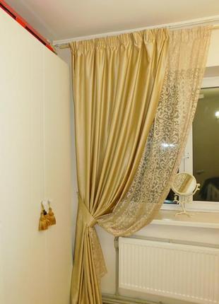 Шторы для спальни или гостиной с кружевом2